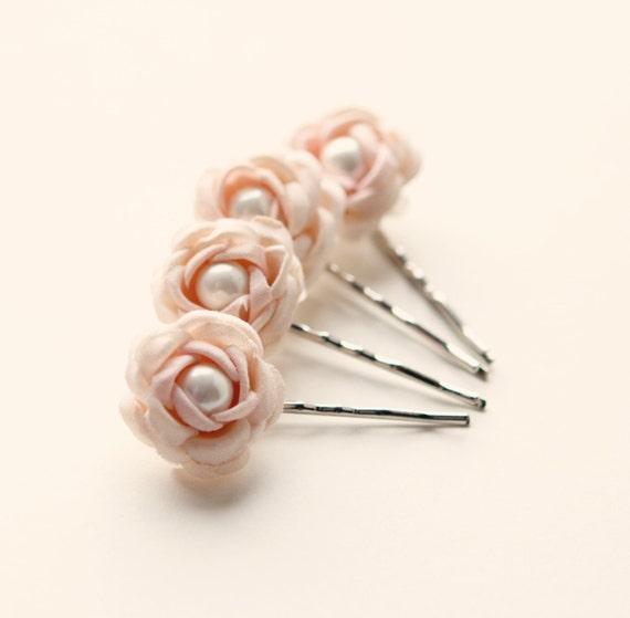 Pastel hair pins, Pink rose bobby pins, Flower clips, Bridal hair, Wedding flowers, Floral bobbies - ROSEBUD - set of four
