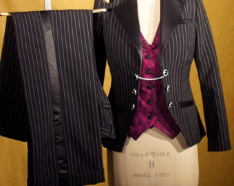 Pinstripes and Brocade----Custom Women's Tuxedos