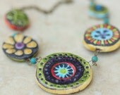Mosaic Necklace Mosaic Tile Necklace Pottery Necklace Statement Jewelry Bib Necklace Colorful Boho Best Friend Gift Two Sided Necklace