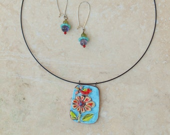 Necklace & Earrings Tile Pendant Necklace Pottery Pendant Boho Necklace Raku Tile Colorful Flowers Gift for Wife Gift for Valentine