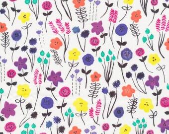 Cloud9 Brush Strokes Flower Fields Organic Cotton Fabric
