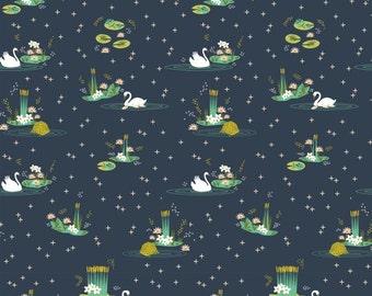 Birch Swan Lake Main Dusk Navy Organic Cotton Fabric
