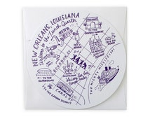 New Orleans French Quarter Map Circle Die Cut Card and Envelope in Purple
