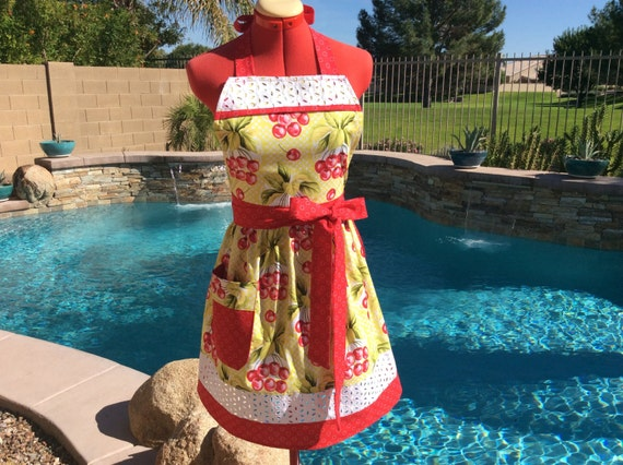Cherry-o Sassy Apron with gathered waist and towel loop, Daisy Eyelet Insert, Womens Misses and Plus Sizes, Kitchen Apron, Full, Gift Ideas