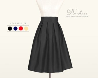 Duchess satin fully lined custom made pleated midi skirt in black, red, navy blue, light gold for your wedding, bridesmaids