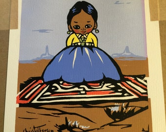 Navajo Apache OODEES by Gerda Christoffersen, papoose art, 50s children's paintings