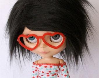 """Blythe Doll wig 10"""" Short Black wig fake fur MonstroDesigns"""