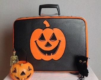 Vintage 60's Hand Painted Halloween Jack-o-lantern Suitcase Harlequin Trim