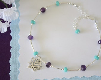Lotus Amethyst Anklet and Sterling Silver, Purple Anklet, Teal, Silver Anklet, Beach, Vacation, Beach Wedding, Bridesmaid, best friend gift