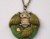Woodland Owl with Olive Green Wings Polymer Clay Pendant Necklace