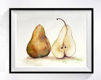 Yellow Pear Kitchen  Fine Art Print Pear Artwork Watercolor painting / Kitchen decor botanical art LaBerge Muren Studio