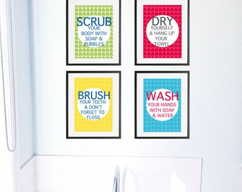 Bathroom rules wall art prints