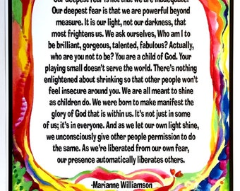 OUR DEEPEST FEAR 11x14 Marianne Williamson Spiritual Meditation Inspirational Quote Typography Poster Heartful Art by Raphaella Vaisseau