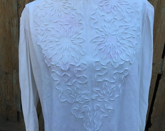 Vintage White Ladies' Long Sleeve Blouse with Flowers