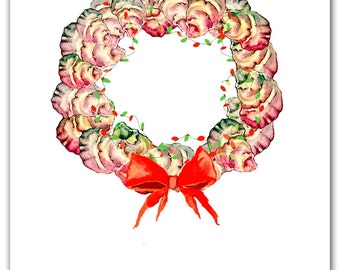 NEW 2016: Oyster Christmas wreath cards, oysters ,holiday wreath, nautical christmas, boxed set ,shells.oyster painting,oyster holiday card