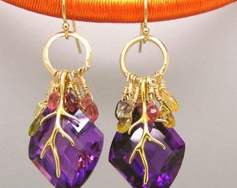 Amethyst Tourmaline Gemstone Briolette Chandelier Earrings Vermeil Sterling
