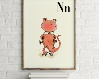 N for Newt - Alphabet art - Alphabet Letters - Baby Zoo Animals - Safari Nursery - Nursery art - Nursery decor - Baby Animals