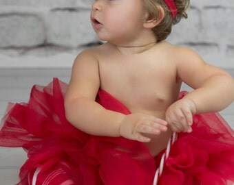 Holiday Red Tutu with Red Candy Cane Stripe Leg Warmers and Optional Bow