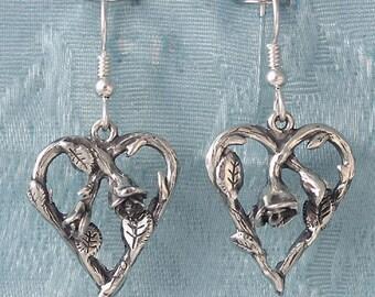 Rose Vine Heart Sterling Silver Earrings