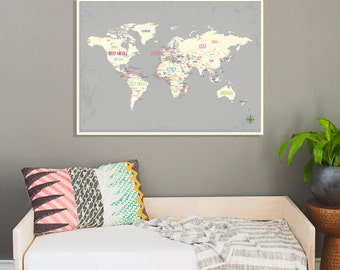 World Map Wall Art Print, 24x18, Nursery Wall Art, Kid's Room Decor, Gender Neutral Nursery, Travel World Map, Capitals of Countries