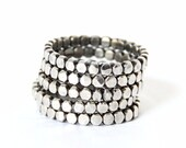 Silver stackable ring, midi ring sets, modern minimal stacknig bands, Bold Dotted Rings