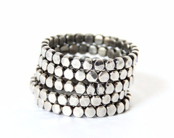 Silver stackable ring, silver beaded ring, modern minimal stacking bands, Bold Dotted Stacking Ring