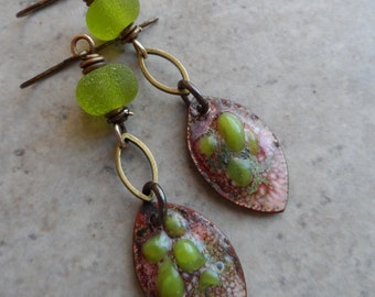 Just One Bite ... Enameled Copper Charms, Lampwork and Brass Wire-Wrapped Rustic, Boho, Abstract Earrings