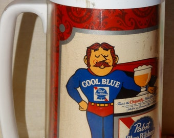 Beer Mug, Pabst Blue Ribbon Beer Thermo-Serv ~ Beer Mug Stein ~ Vintage 1970's Beer Mug, Cool Blue Man, Made by Westbend
