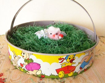 Vintage Tin Litho Easter Basket Sand Pail with Bunnies and chicks