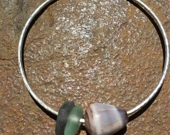 Lovely Sterling Silver Kauai Beach Glass and Cone Bangle Large