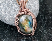 Pure Copper Freeform Wire Wrapped Labradorite Pendant