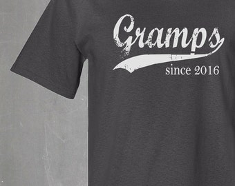 gramps since . any year . silkscreened t shirt . father's day gift . men's tshirt . gifts for gramps . personalized shirt