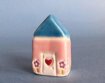Little flower House Collectible Ceramic Miniature Clay House blue pink
