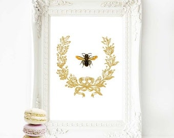Bee print, acorn wreath, vintage bee, French bee, gold wreath, vintage insect, bee illustration, Autumn, Fall, Home Decor, French decor
