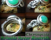 Arimids Favor Aiseirigh The New life of Spring Chrysoprase  Skull and Moon silver ring