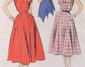 "1950s Summer Dress with Pockets Pattern / 1950s Sewing Pattern / Advance 7046 / 1950s Button Front Dress / Bust 32"" Waist 26.5"""