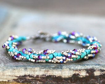Swarovski Crystal, Turquoise and Silver Beaded Spiral Bracelet, Handmade Beaded, Turquoise Blue and Fuchsia Bracelet