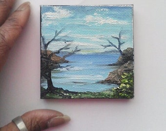 "Mini Oil Painting Sea, Trees 3""x 3"" READY to SHIP"