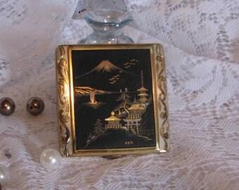 Vintage Japanese Komai Style 24k Gold silver Mount Fuji Black Damascene Compact