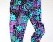 vintage. retro. 1990s high waist elastic rayon puffy pants. bright aqua blue and purple pattern. size large lg l