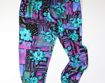vintage. retro. 1990s high waist elastic rayon puffy pants. bright aqua blue and purple pattern. size large lg l