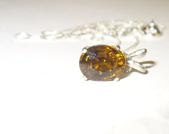Fiery Orange Tourmaline Pendant Necklace in Sterling Silver - Genuine Natural Brilliant and Clean Gemstone!