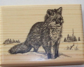 New Mounted Rubber Stamp SNOW FOX