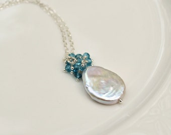 Coin Pearl London Topaz Cluster Necklace Sterling Silver Genuine Coin Pearl Teardrop Wedding Jewelry Blue Cream