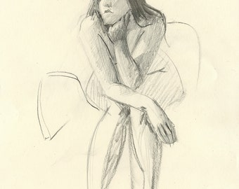 Original Charcoal Gesture Sketch Life Drawing of Sitting Female Nude Figure - Rae Thinking