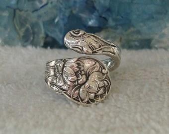 Waterlilies Flower Gorham Vintage Sterling Silver Spoon Ring dmfsparkles