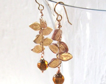 Amber Lampwork Aurora Glass Leaves Earrings, Art Glass, Golden Iridescent Summer, Autumn Fall Jewelry