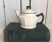 Vintage Czech Lustre Teapot for One - Mini - Pearl Ware - Black - Art Deco