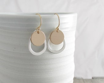 Tiny Gold And Silver Drop Earrings Everyday Earrings Simple Earrings Minimalist Earrings Gold Earrings Dainty Earrings Gift For Her