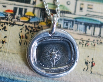 sun wax seal necklace … nothing new under the sun - sun pendant - silver Victorian Era wax seal jewelry